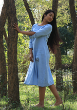 Load image into Gallery viewer, Chambray Wan Blue Peekaboo Dress