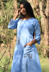 Chambray Wan Blue Peekaboo Dress