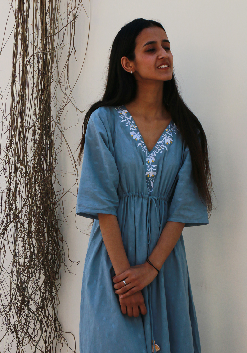 Falling Lillies Pale Aqua Kaftan Dress