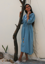 Load image into Gallery viewer, Falling Lillies Pale Aqua Kaftan Dress