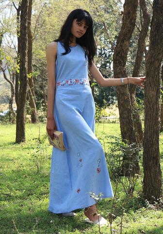 Chambray Tie-up Wan Blue Maxi Dress