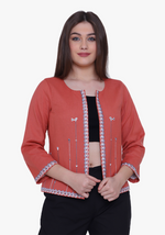 Load image into Gallery viewer, Dusty Orange Tribal Embroidered Jacket