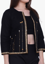 Load image into Gallery viewer, Black Tribal Embroidered Jacket