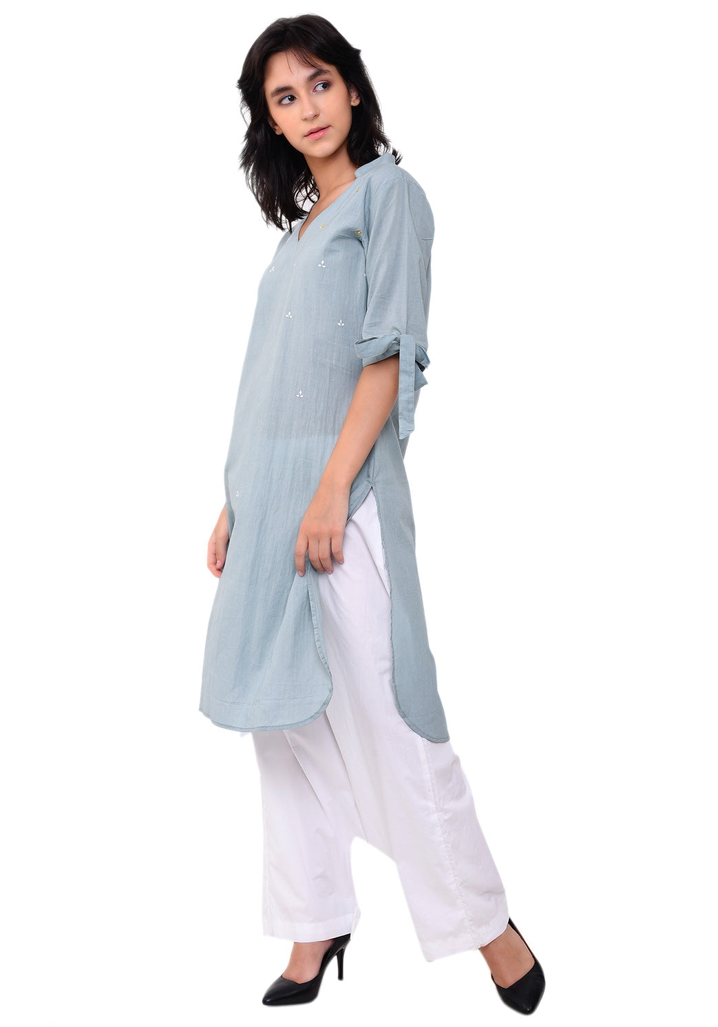 Knot Tie Sleeves V-Neck Straight Tunic - Pale Aqua