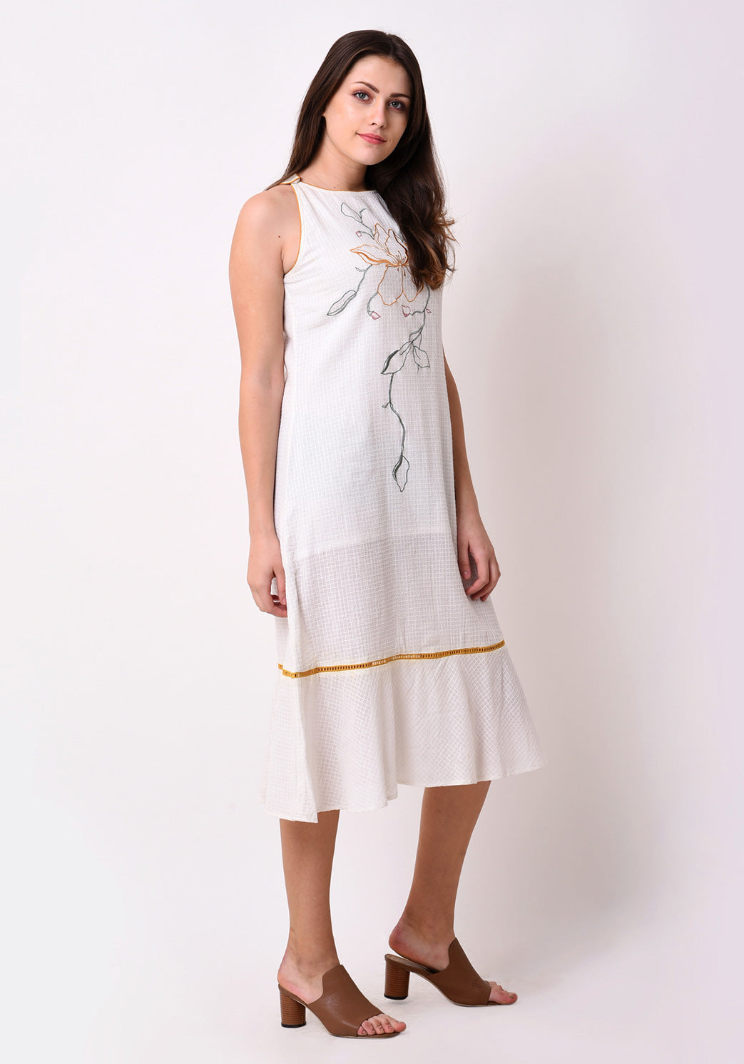 Waffle Dobby Embroidered Shift Dress - White