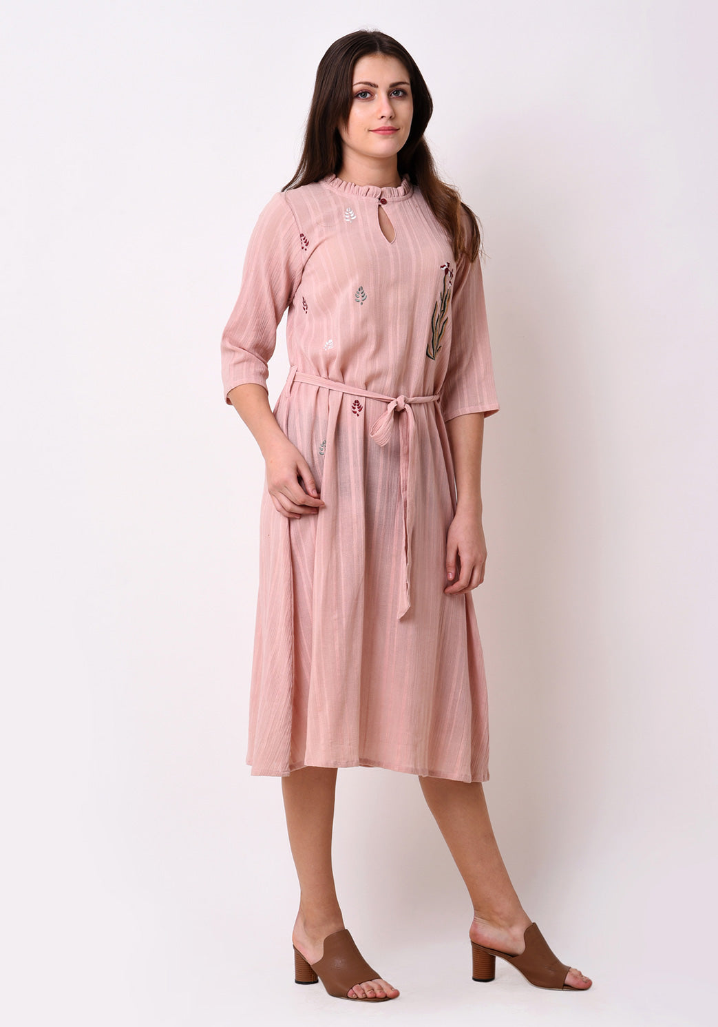 Crepe Dobby Floral Embroidered Dress - Peach