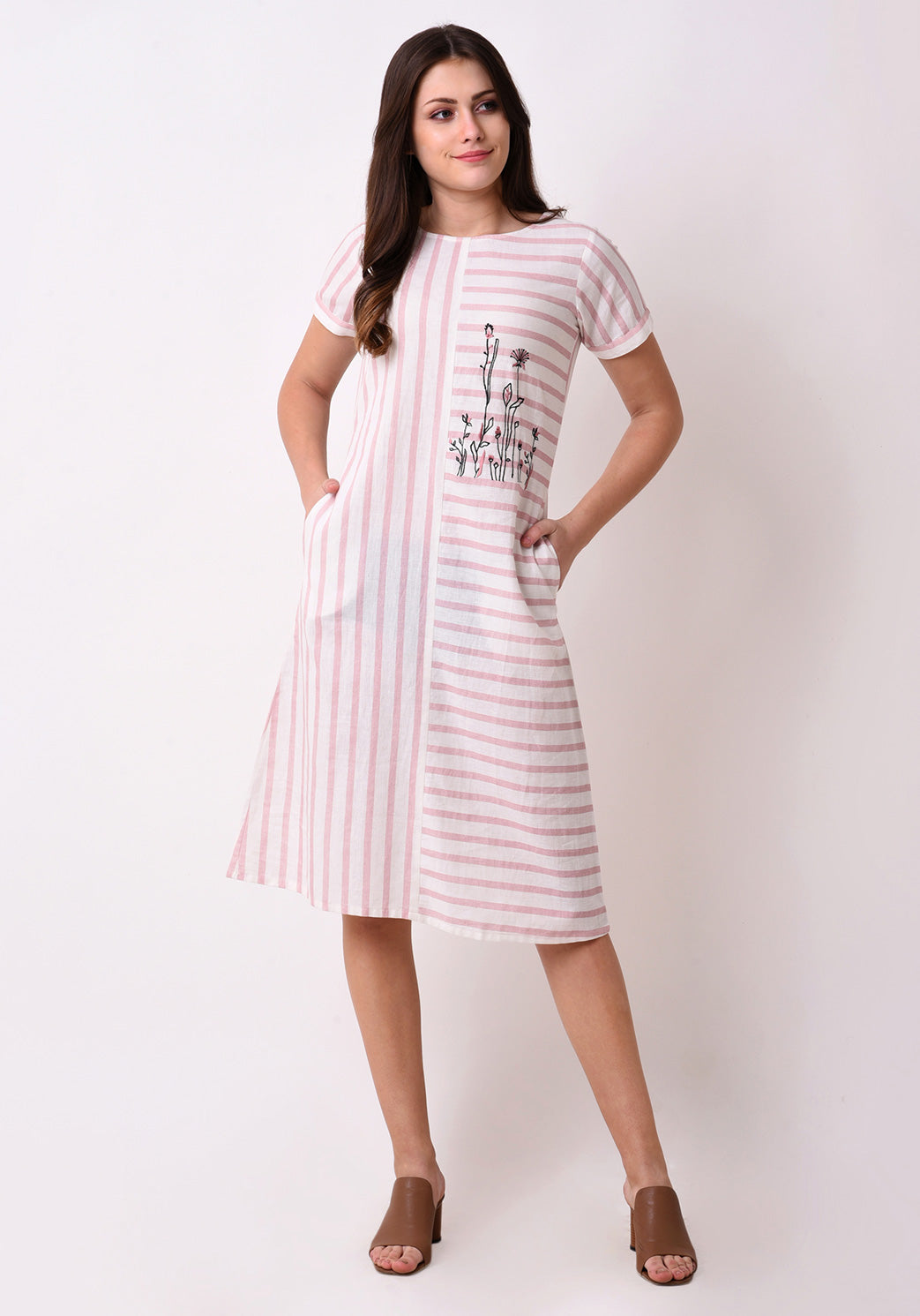 Striped Embroidered Dress - Pink