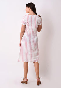 Striped Embroidered Dress - Blush Pink