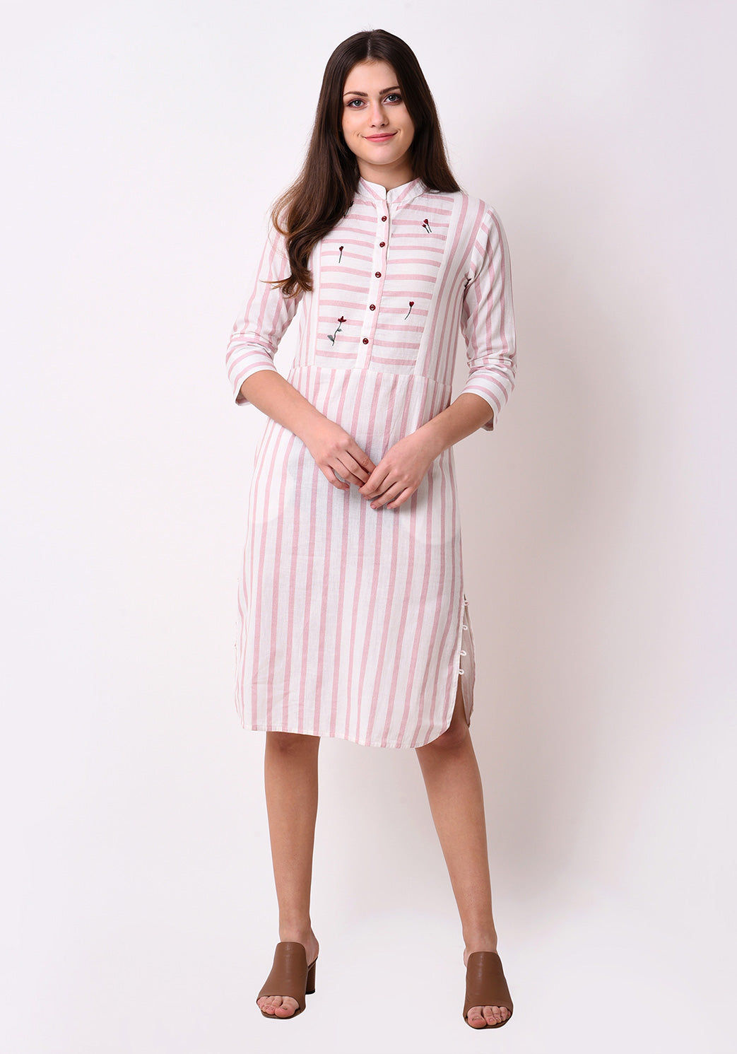 Button Down Embroidered Dress - Pink