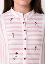 Load image into Gallery viewer, Button Down Embroidered Dress - Blush Pink