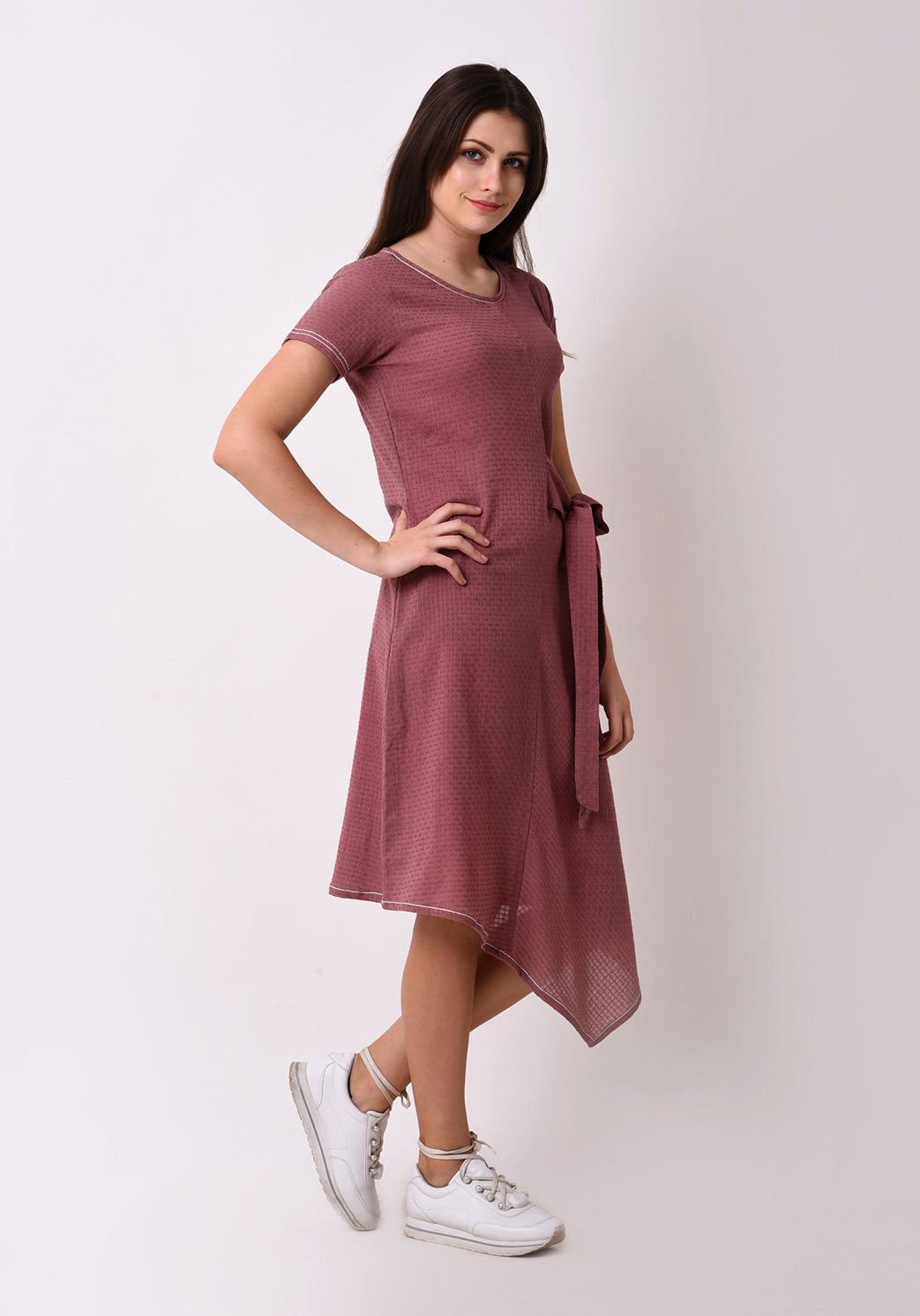 Waffle Dobby Side Tie-up Dress - Mauve