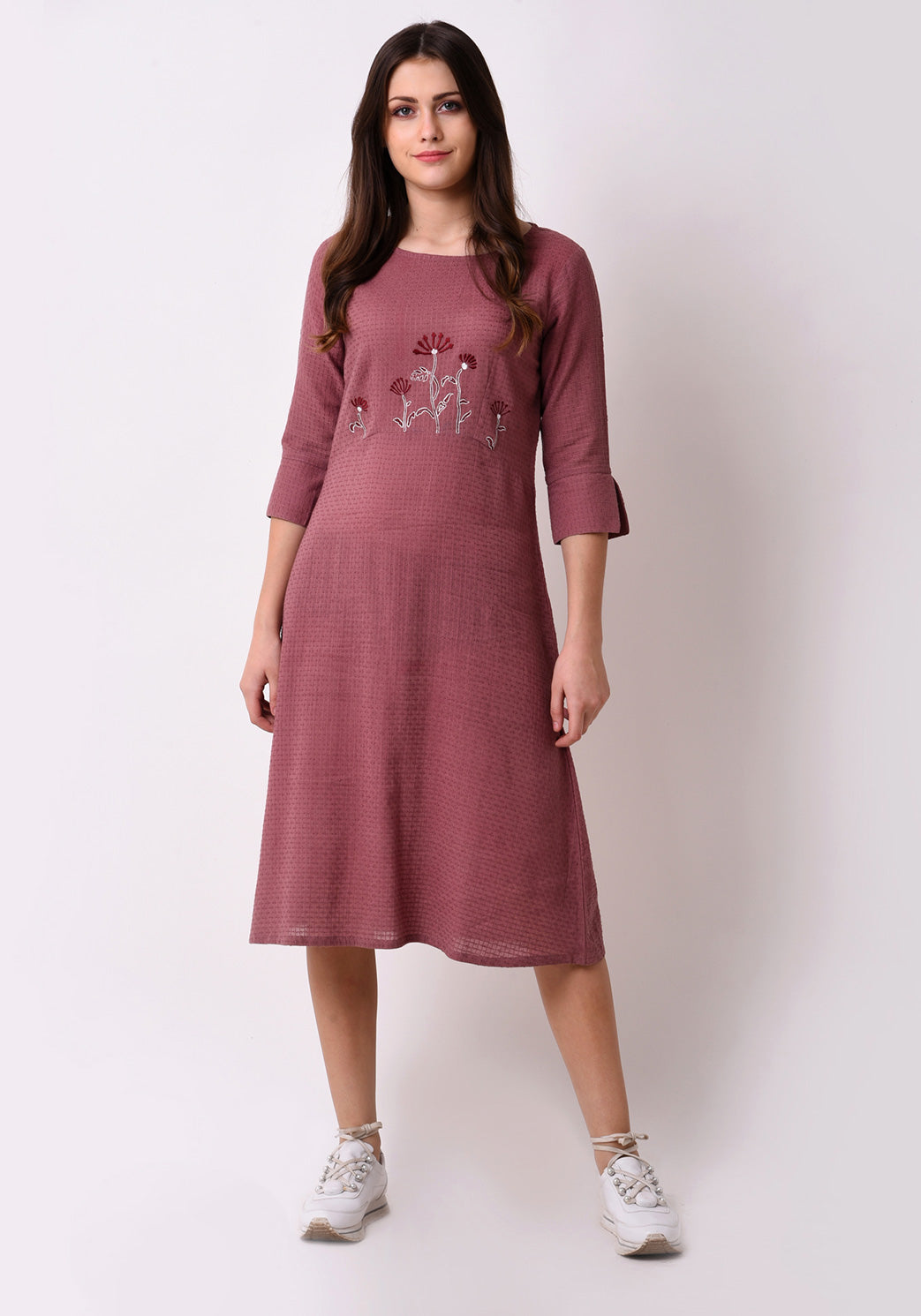 Waffle Dobby Floral Embroidered Dress - Mauve