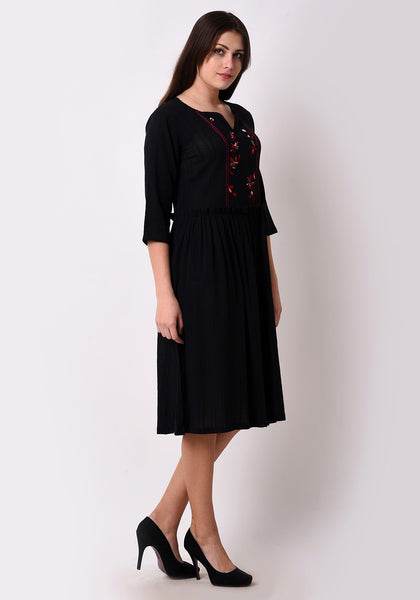 Meadow Yoke Embroidered Black Dress - Black