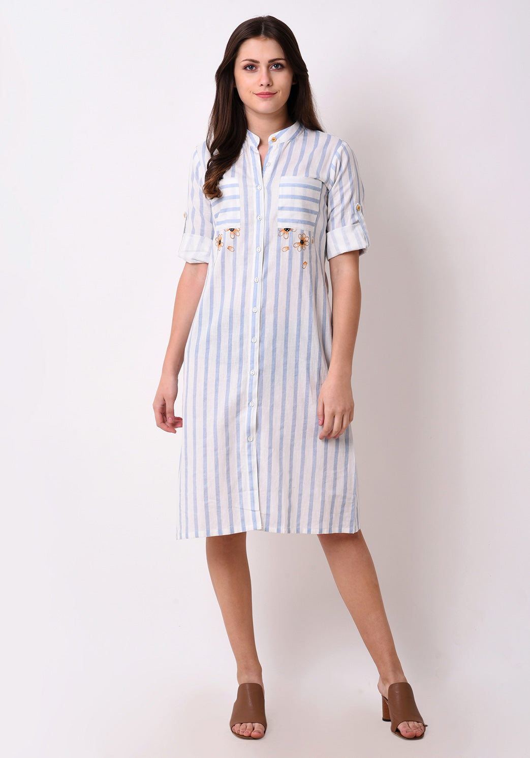 Striped Embroidered Shirt Dress - Wan Blue