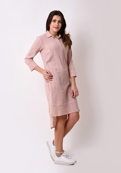 Crepe Dobby Button Down Shirt Dress - Peach