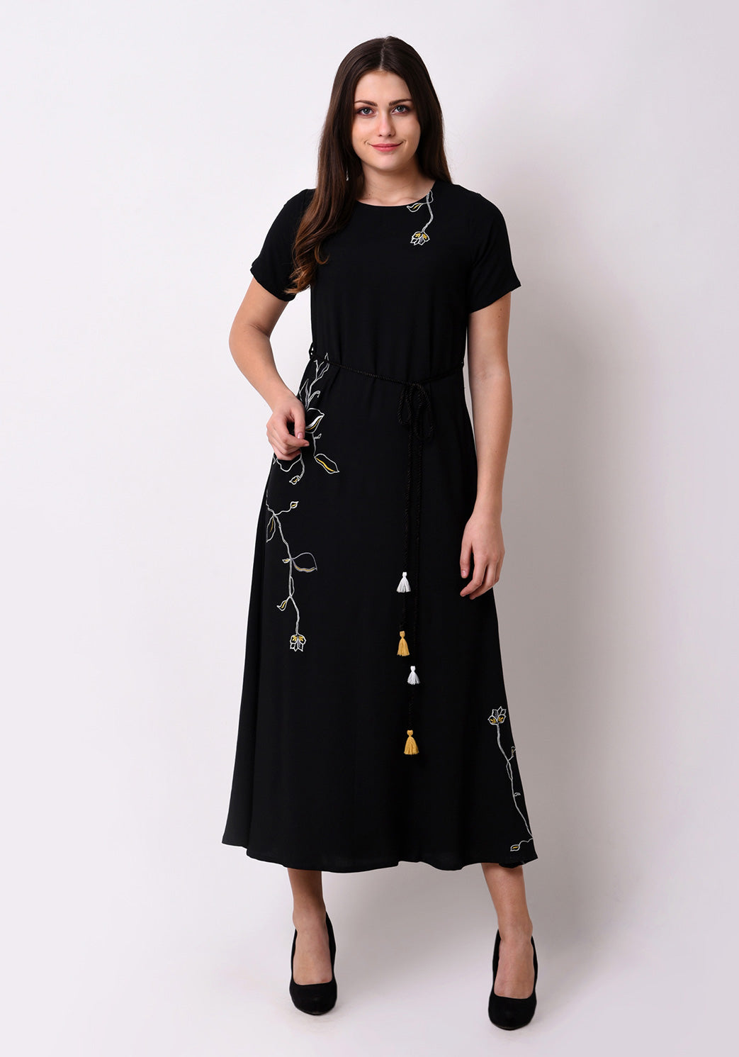 Floral Embroidered Maxi Dress - Black