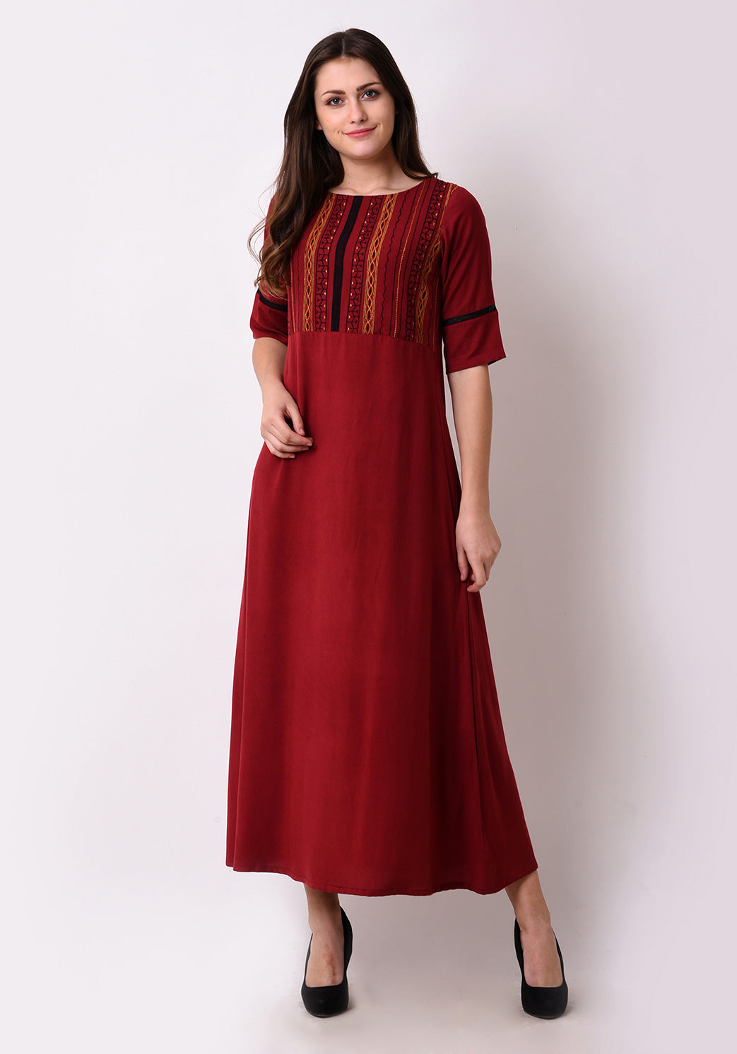 Geo-Embroidered Maxi Dress - Maroon