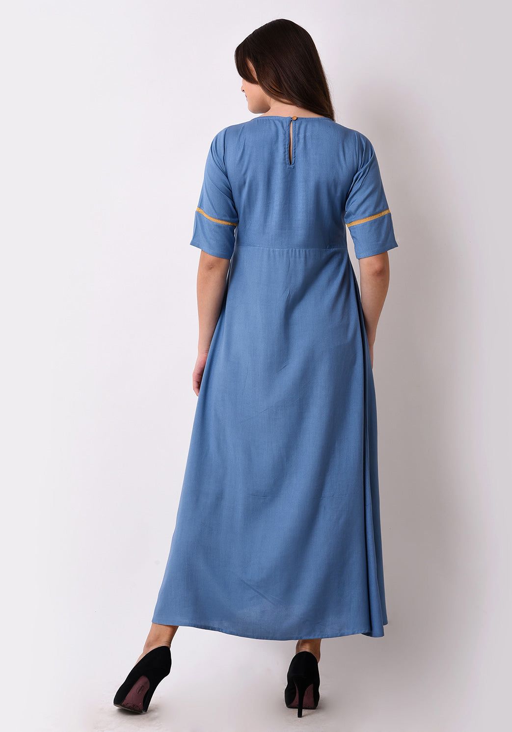 Geo-Embroidered Maxi Dress - Faded Denim
