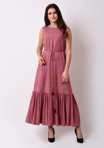 Embroidered Fairytale Maxi Dress - Mauve