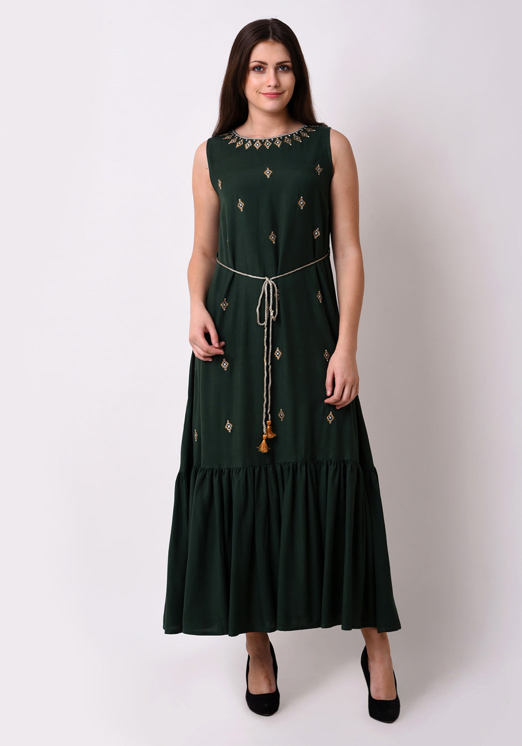 Embroidered Fairytale Maxi Dress - Bright Green