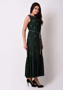 Embroidered Fairytale Maxi Dress - Bottle Green