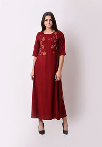 Elegant Side Tie-up Maxi Dress - Maroon