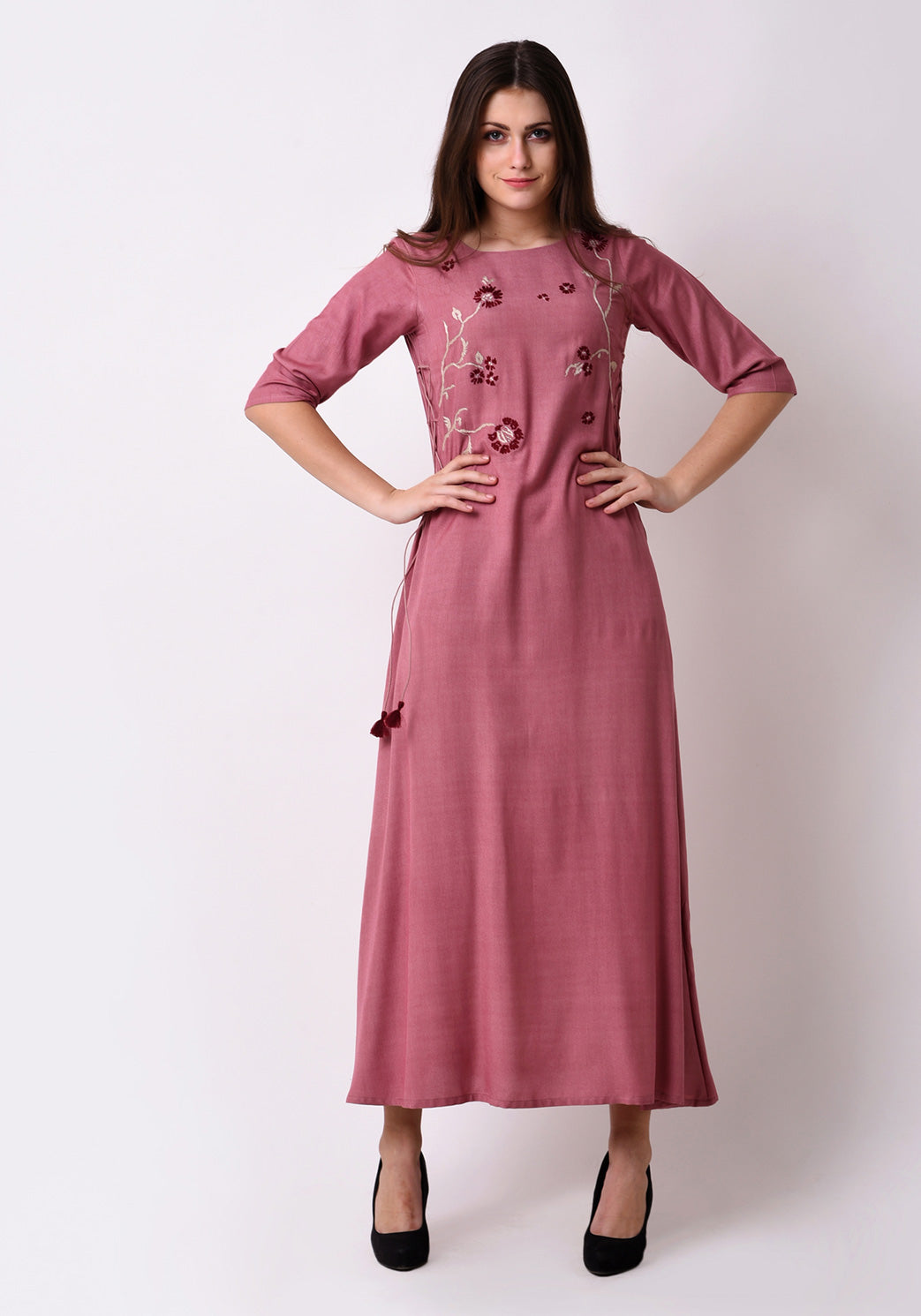 Elegant Side Tie-up Maxi Dress - Mauve