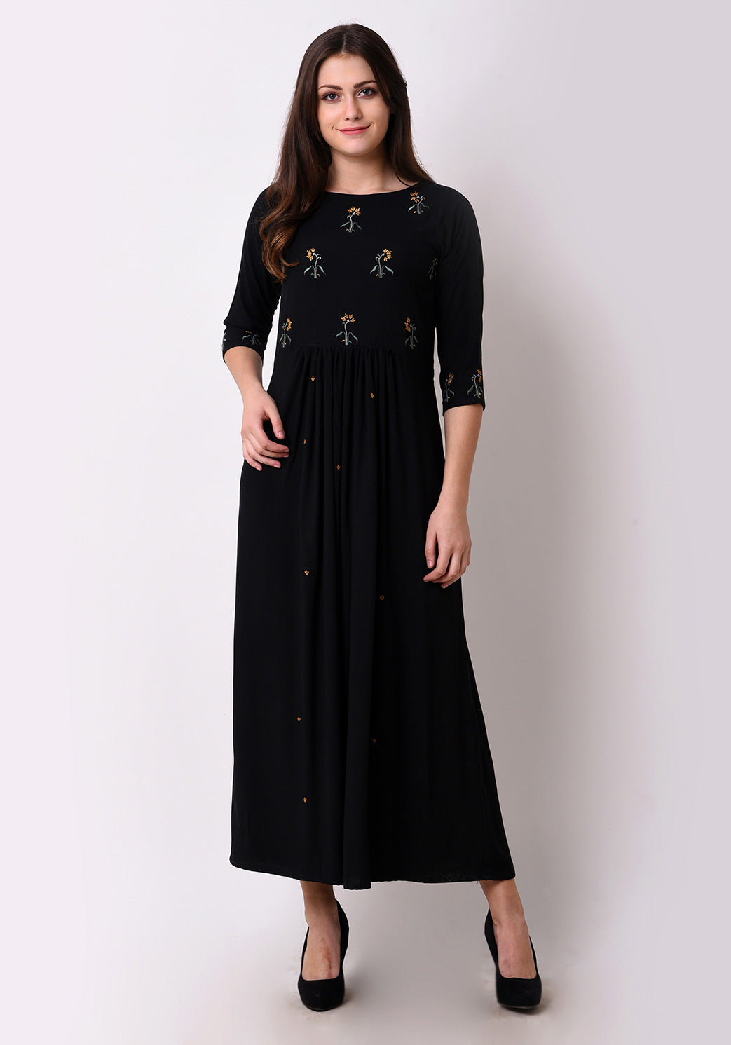 Floral Embroidered Gathered Maxi Dress - Black