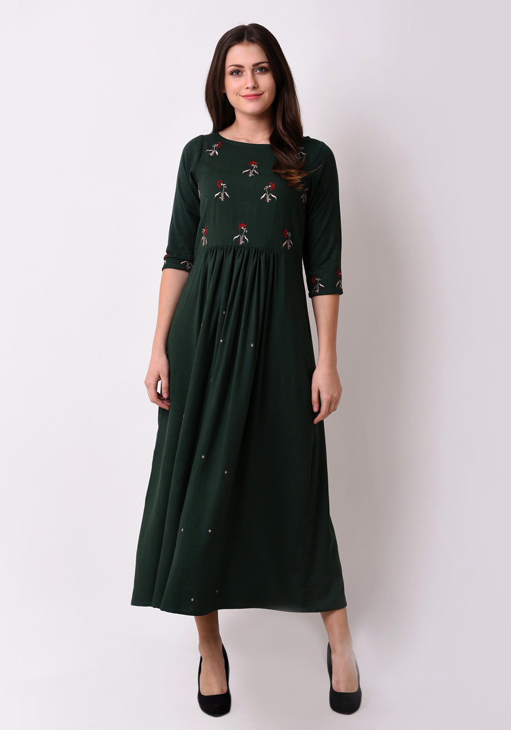 Floral Embroidered Gathered Maxi Dress - Bottle Green