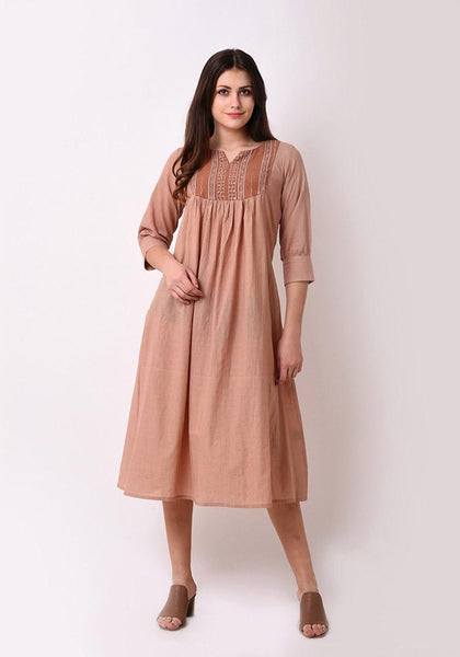 Tribal Emboidered Yoke Kurta Dress - Autumn Blonde
