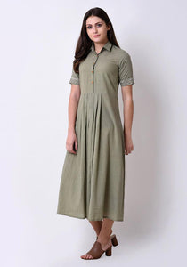 Pleated Embroidered Shirt Dress - Fair Green