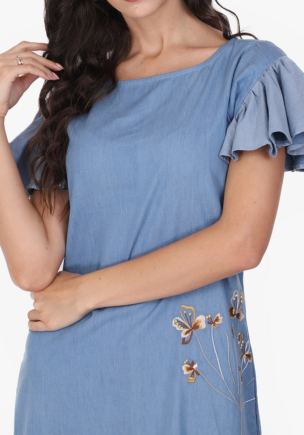 Embroidered Faded Denim Shift Dress