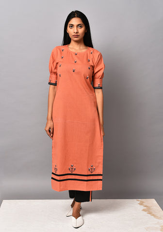 Dusty Orange Gathered Sleeve Kurta Set