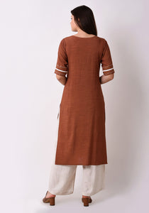 Straight Embriodered Yoke Kurta - Brown