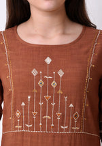 Load image into Gallery viewer, Straight Embriodered Yoke Kurta - Brown