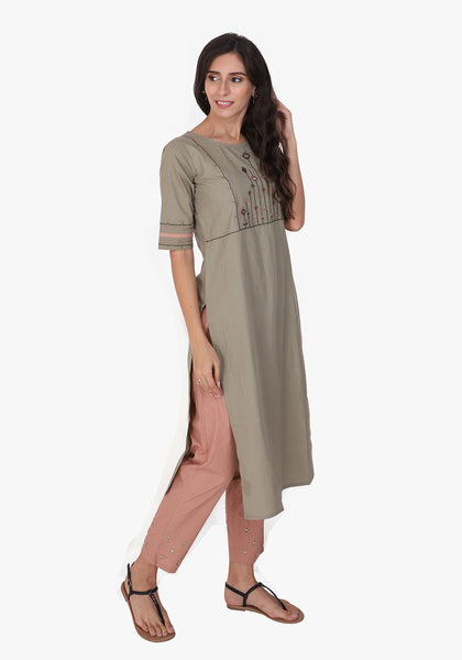 Tribal Embroidered Fair Green Kurta Set