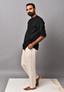 Men's Tribal Eclipse Black Short Kurta