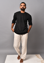 Load image into Gallery viewer, Men's Tribal Eclipse Black Short Kurta