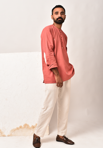 Men's Impressions Of Tribe Dusty Cedar Short Kurta