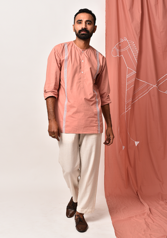 Men's Peach Embroidered Short Kurta