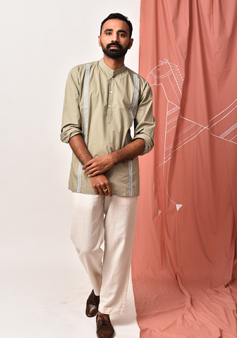 Men's Fair Green Embroidered Short Kurta