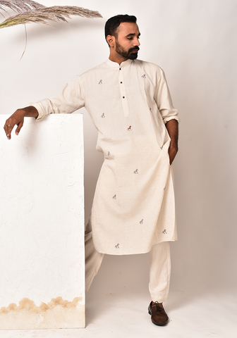 Men's Shadow Horse Tribal After Glow Kurta Set