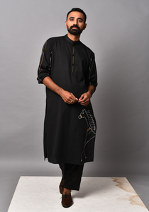 Men's Dark Horse Tribal Black Kurta Set