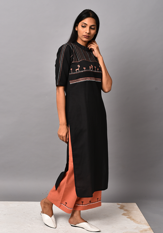 Forest Of Enchantments Black Kurta Set