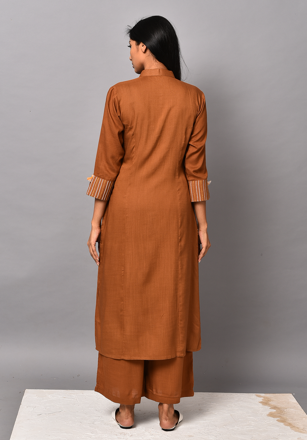 Wanderer A-line Brown Kurta Set