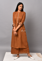 Load image into Gallery viewer, Wanderer A-line Brown Kurta Set