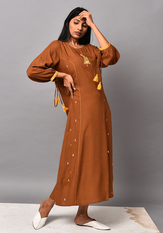 Shafira A-Line Brown Dress
