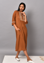 Load image into Gallery viewer, Front Slit Embroidered Brown Dress