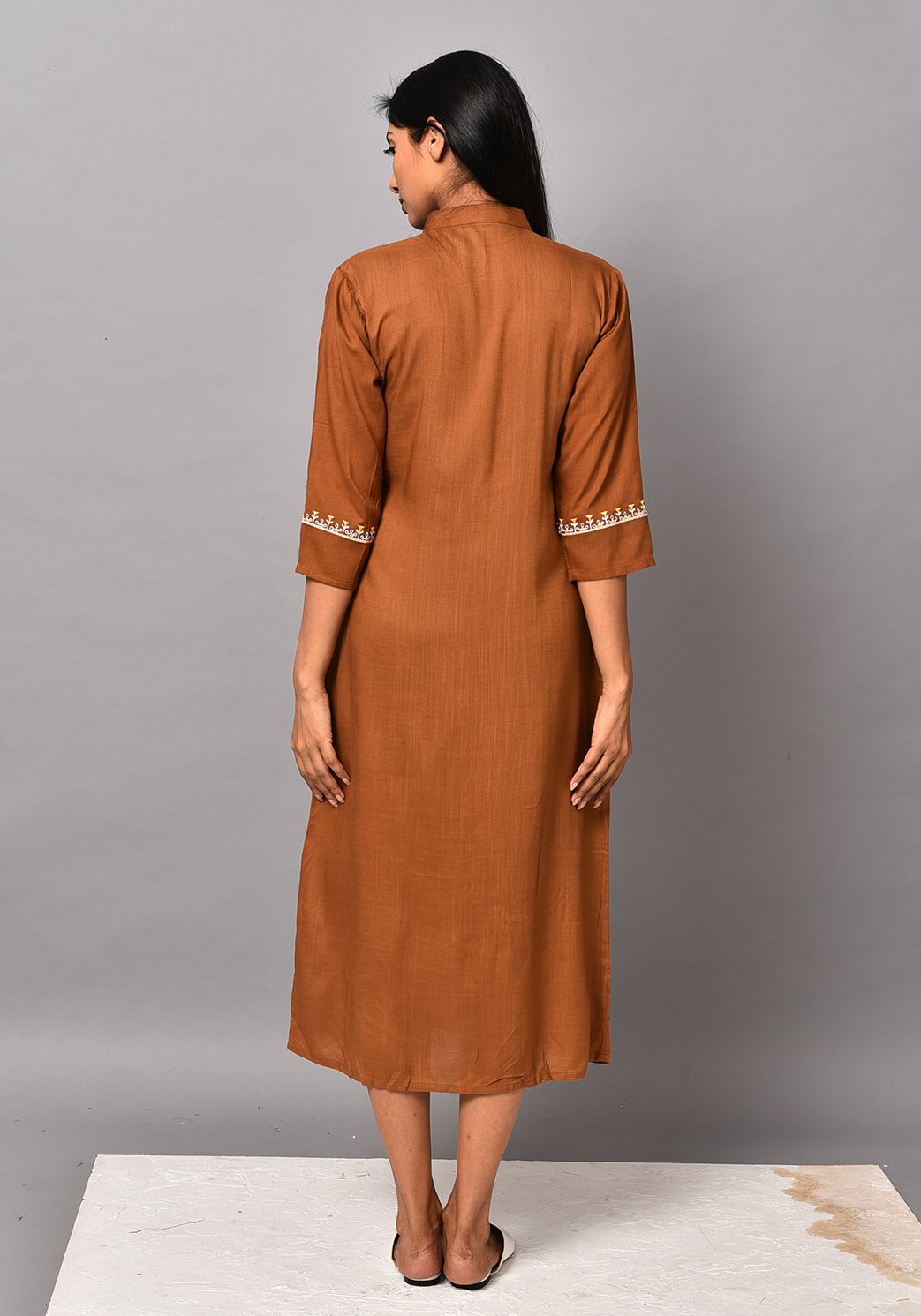 Front Slit Embroidered Brown Dress