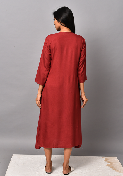 Maroon A-line Embroidered Dress